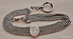 Különleges,ritka antik ezüst zsebóralánc