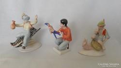 Hollóházi és drasche porcelán figura 3 db