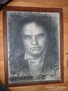 Sassy Attila: Beethoven, régi szénrajz-vászon, jelzett