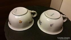 Gyönyörű, antik hollóházi csésze pár