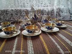 Antik Victoria Stilmalerei kék-arany teáskészlet !!!