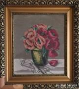 Régi, goblein virág csendélet (sérült a keret) !