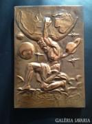 Görög mitológia - Atlaszt ábrázoló réz falidísz