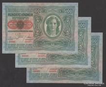100 korona 1912. (aUNC/UNC), (DÖ) ! 3 db sorszám követő!