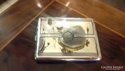 Ezüst zománc díszítéses cigarettatárca