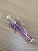 Ezüst angyal talizmán medál lila üvegfiolával