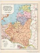 Észtország, Lengyelország, Lettország, Litvánia térkép 1935