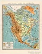 Észak - Amerika hegy- és vízrajzi térkép (e) 1911, eredeti