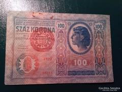 100 Korona 1912 Magyarország bélyegzéssel  Bomba jó áron!!!