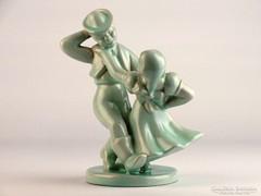 0K850 Táncoló pár Komlós kerámia szobor 17.5 cm