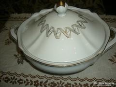Gyönyörű régi leveses tál aranyozott minta