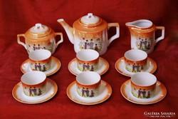 Zsolnay lüsztermázas, jelenetes teáskészlet