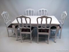 Fehér Provence étkező asztal 6 székkel