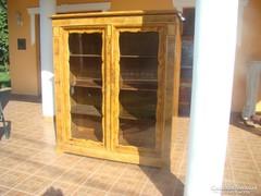 Antik bieder intarziás, vitrines szekrény eladó!