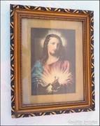 Régi fa képkeret , Jézus szíve olajnyomat  méret 32 x 45,5