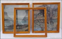 3 darab egyszerű fa képkeret ,  falc 31,5 x 35,5 cm.