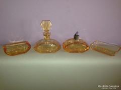 Csodaszép régi 4 részes színes parfümös üveg szett/ készlet