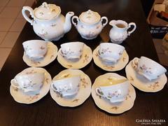 Zsolnay barack virágos teás készlet
