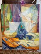 Modern olaj-farost asztali csendélet. Jelzés nélkül. 60-as é