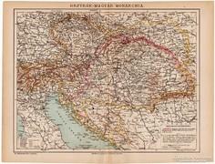 Osztrák - Magyar Monarchia térkép 1892, eredeti, magyar