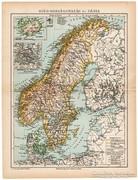 Svéd -  Norvégország és Dánia térkép 1892, eredeti, magyar