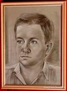 Kisfiú fekete fehérben -Igényesen megrajzolt portré 80-as év
