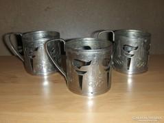 Olimpia karikával orosz fém teás pohártartó készlet 3 db -KV