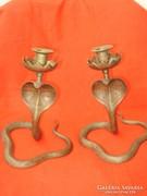 Antik art deco kígyó alakú réz gyertyatartó pár