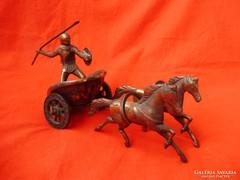Antik bronz szobor Akhilleusz harci kocsin,harcos lovakkal