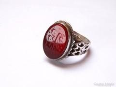 Arab szöveges,karneol köves ezüst pecsétgyűrű.
