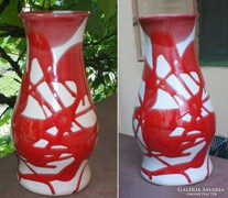 Vérvörös csurgatott mázas kerámia váza, 26 cm