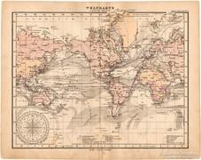 Világtérkép Mercator projekcióban 1893, eredeti, német