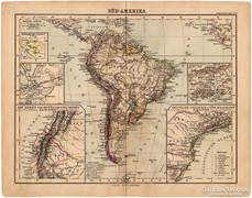 Dél - Amerika térkép 1893, eredeti, német, antik