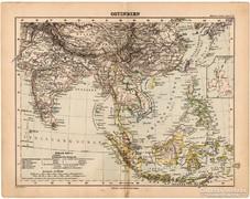 Kelet - India térkép 1893, eredeti, német nyelvű, antik