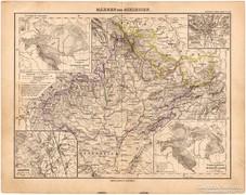 Morvaország és Szilézia térkép 1893, eredeti, német, antik