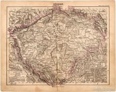 Csehország (Bohémia) térkép 1893, eredeti, német, antik