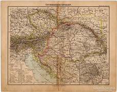 Osztrák - Magyar Monarchia térkép 1893, eredeti, német