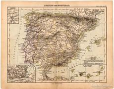 Spanyolország és Portugália térkép 1893, eredeti, német
