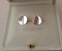 Ezüst stekker fülbevaló kerek hajlított forma