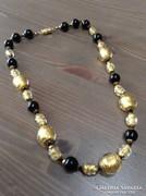 Régi muránói üveg nyaklánc arany fóliával