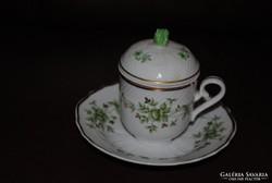 Hollóházi porcelán csésze + alj + fedő