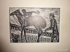 Majom a lovon, fametszet, hátoldalon felirat, ismeretlen