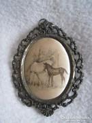 Falidísz,miniatűr falikép,lovak díszes fém keretben