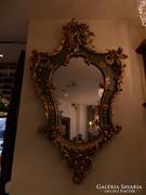 Aranyozott fa tükör rokokó ill. barokk mintákkal