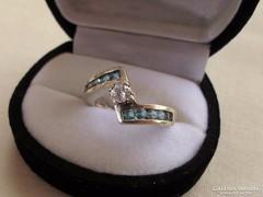 Szép brill csiszolású církon és akvamarin ezüstgyűrű