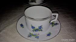 1 db antik Zsolnay kéknefelejcs mintás teás csésze aljával