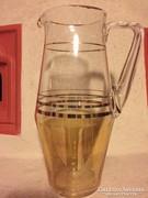 Arany csíkos nagy üveg kancsó, újszerű (37)