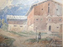Kelety Gusztáv: Hegyi falu c. festménye