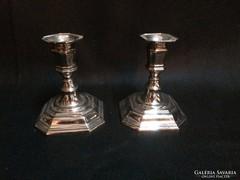 Ezüstözött fém gyertyatartó pár (gs0386)