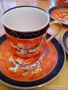 Gésaportrés tojáshéj porcelán csészék aljjal